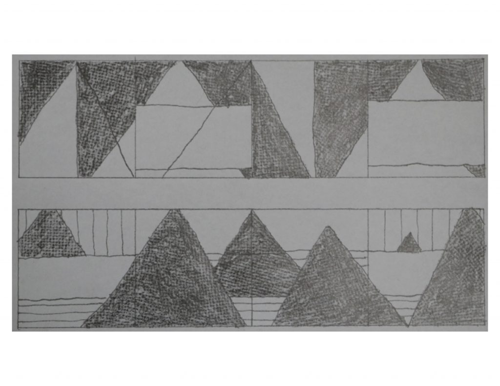 Winter Egypt, Feb 4, 2018, pencil on paper, 25.2 x 14.6 cm (image)