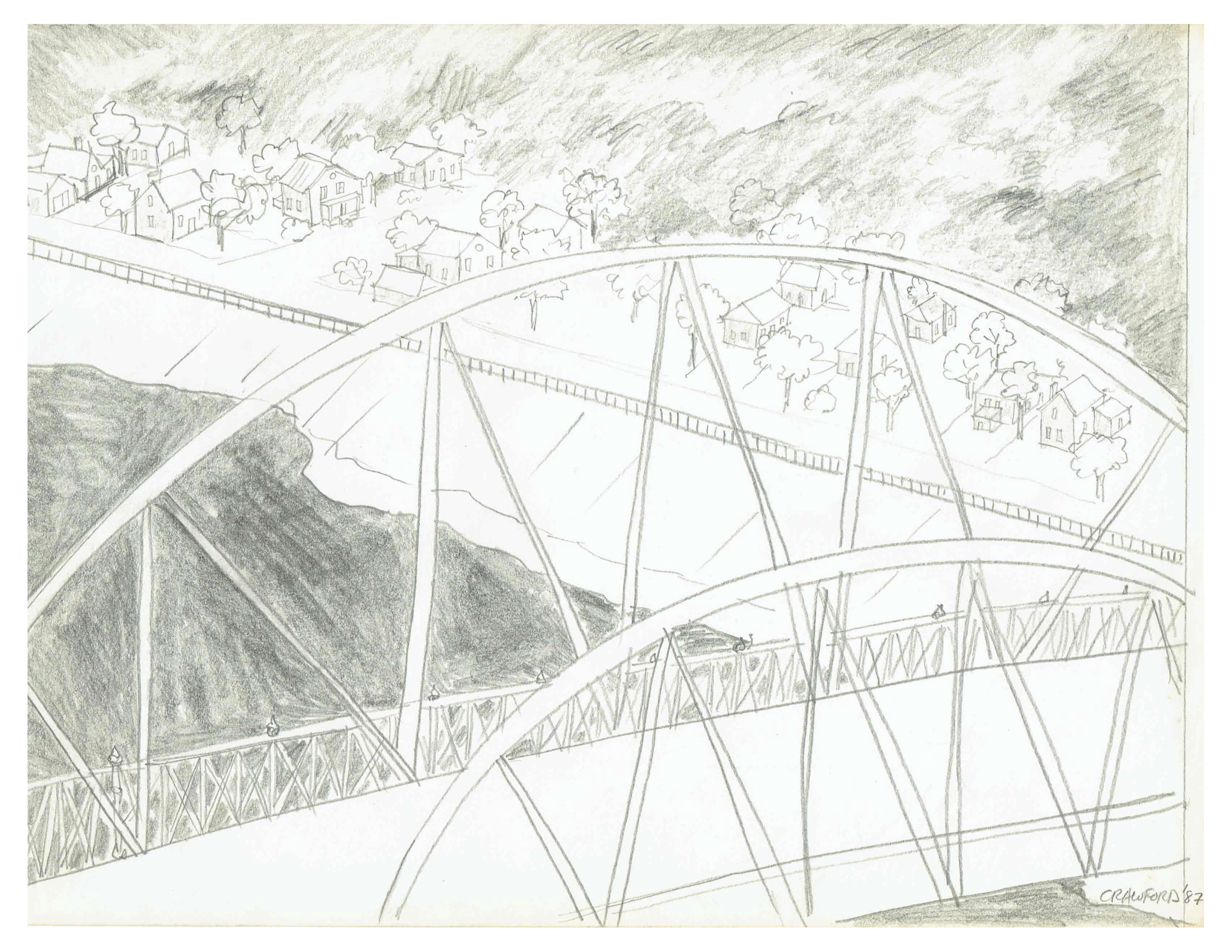 Blackfriars bridge, July 11, 1987, pencil on paper, 29 cm x 21.3 cm