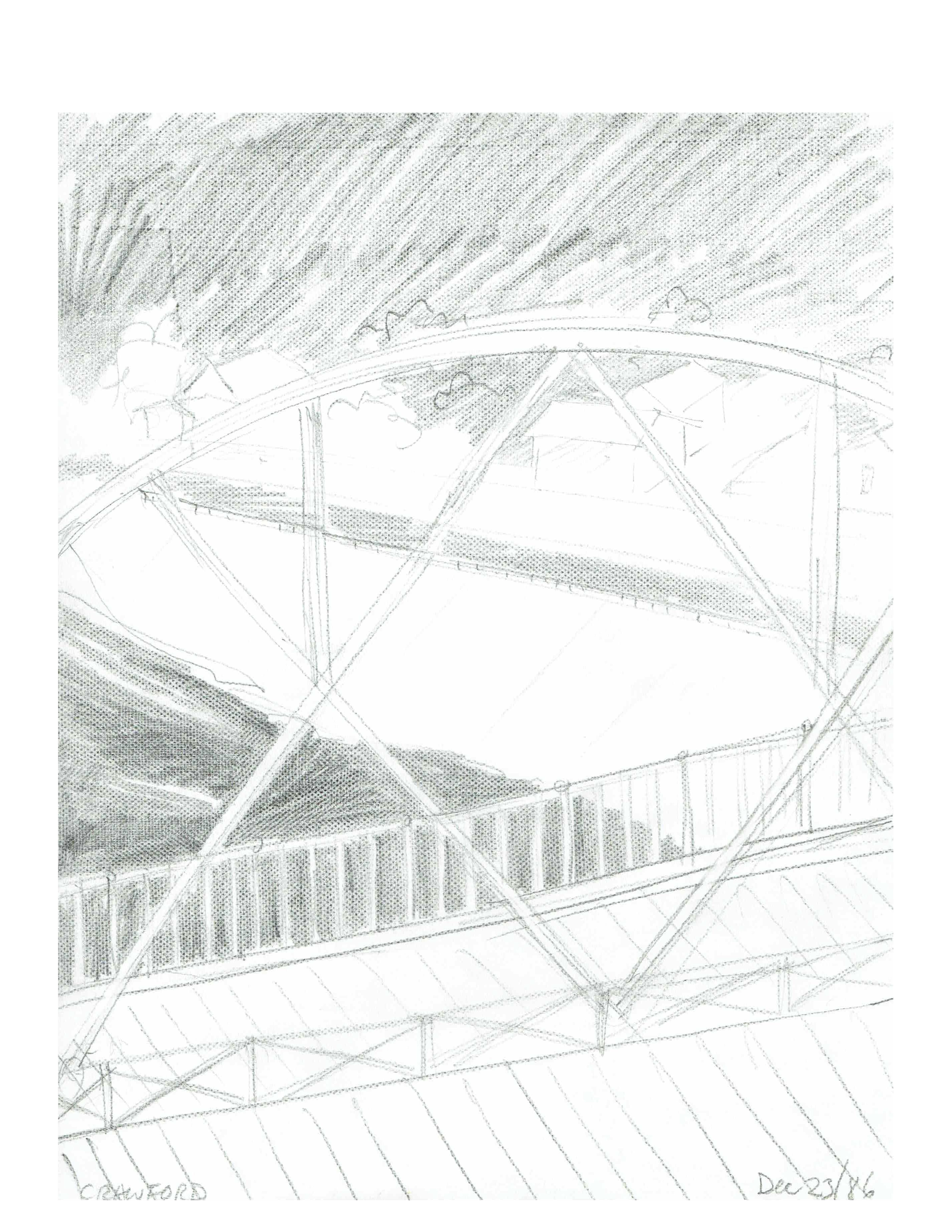 Bridge and river, Dec 23,1986, pencil on paper, 21.6 cm x 28 cm