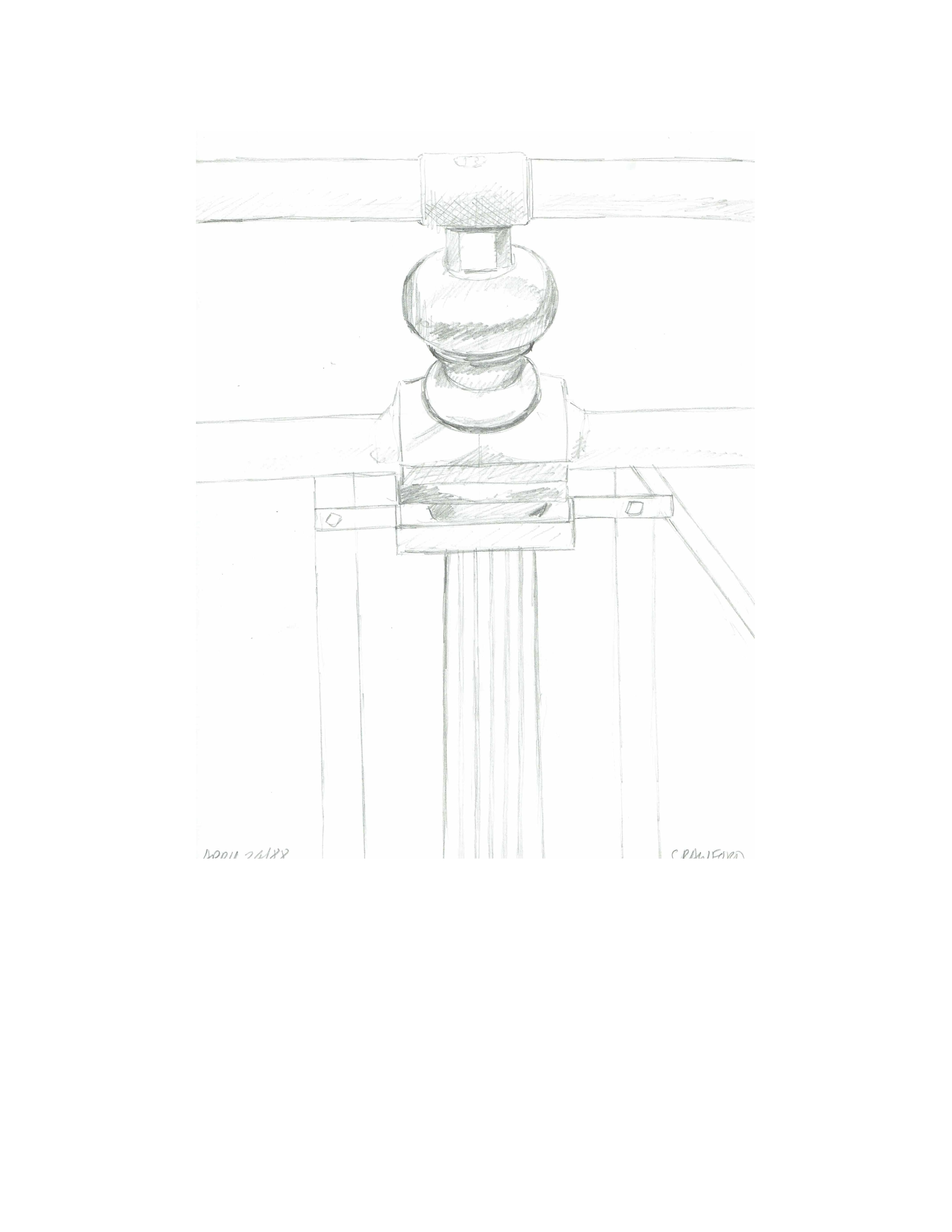 Bridge detail of railing, April 24, 1988, pencil on paper, 21.6 cm x 28 cm