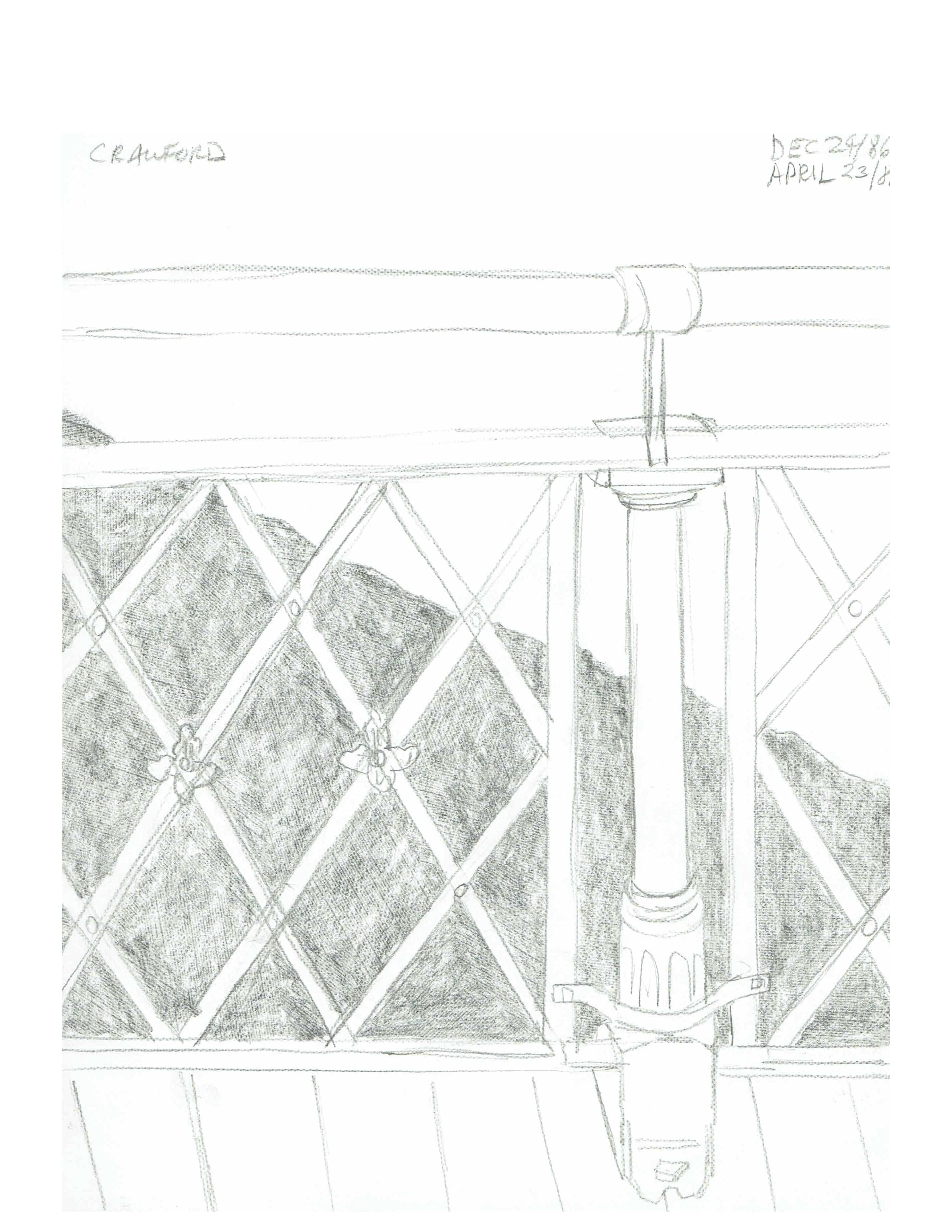 Bridge detail of railing, Dec 24, 1986 - April 23, 1988, pencil on paper, 21.6 cm x 28 cm