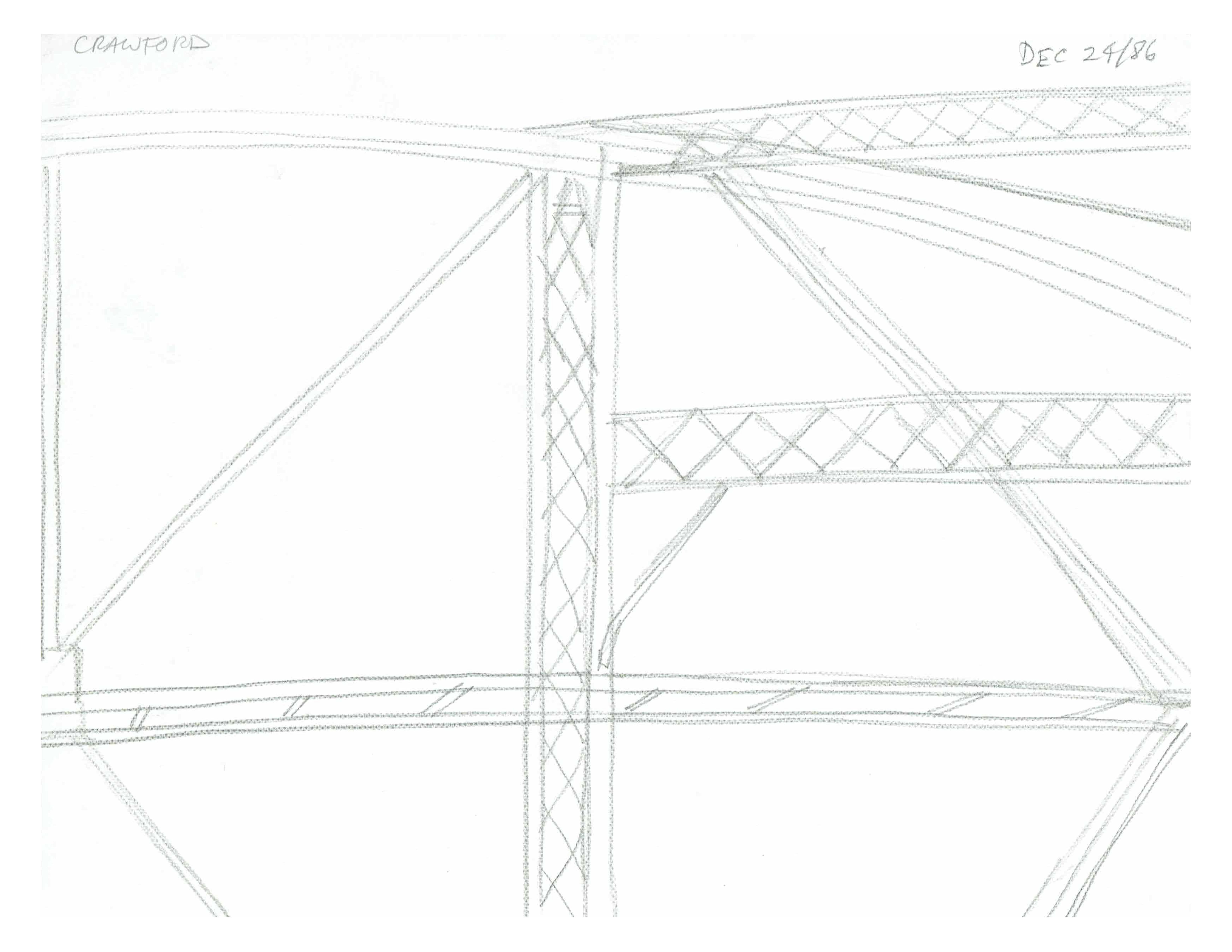 Bridge detail of supports, Dec 24, 1986, pencil on paper, 21.6 cmx 28 cm