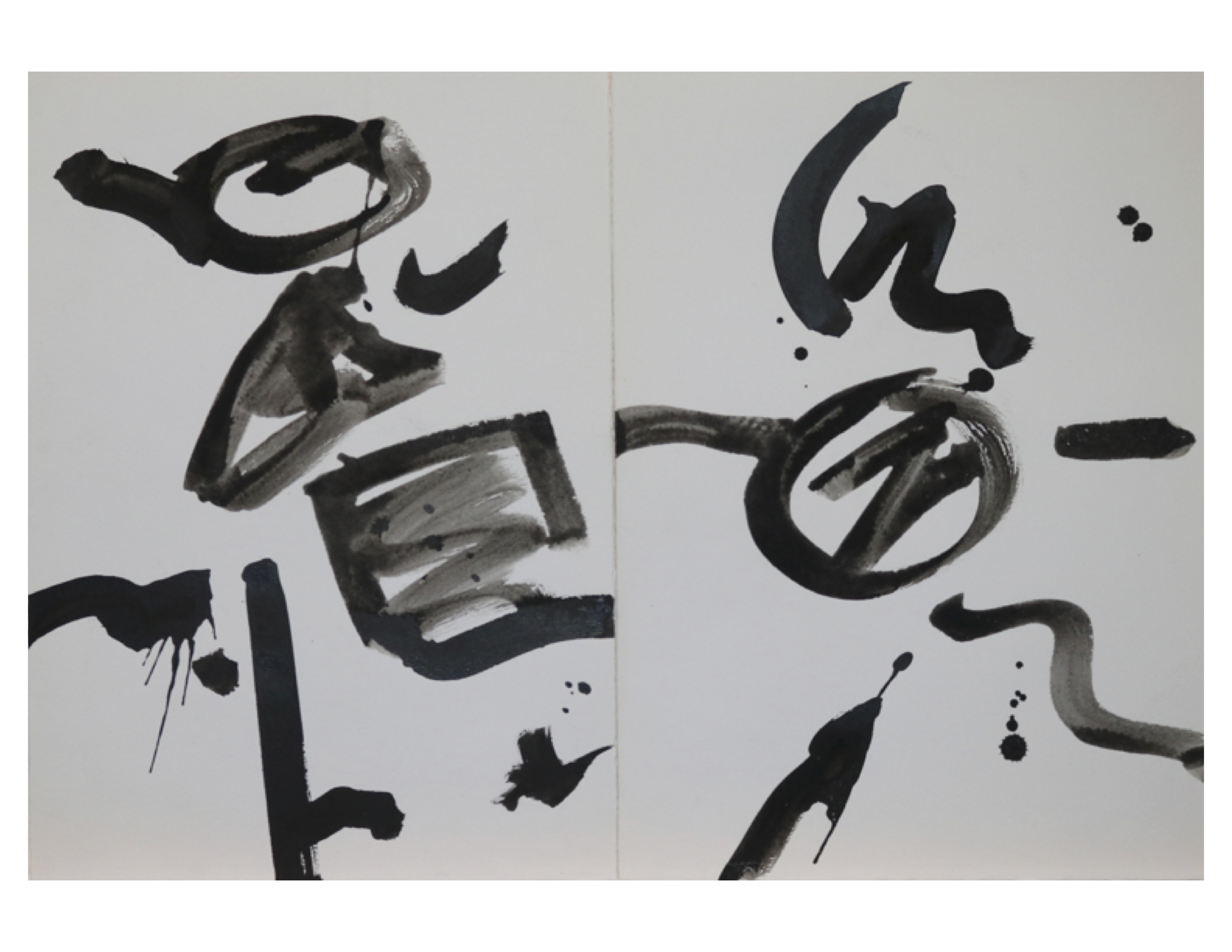 Diptych 1, Circle triangle square, March 10,1979, ink on paper, each sheet 25 cm x 35.2 cm