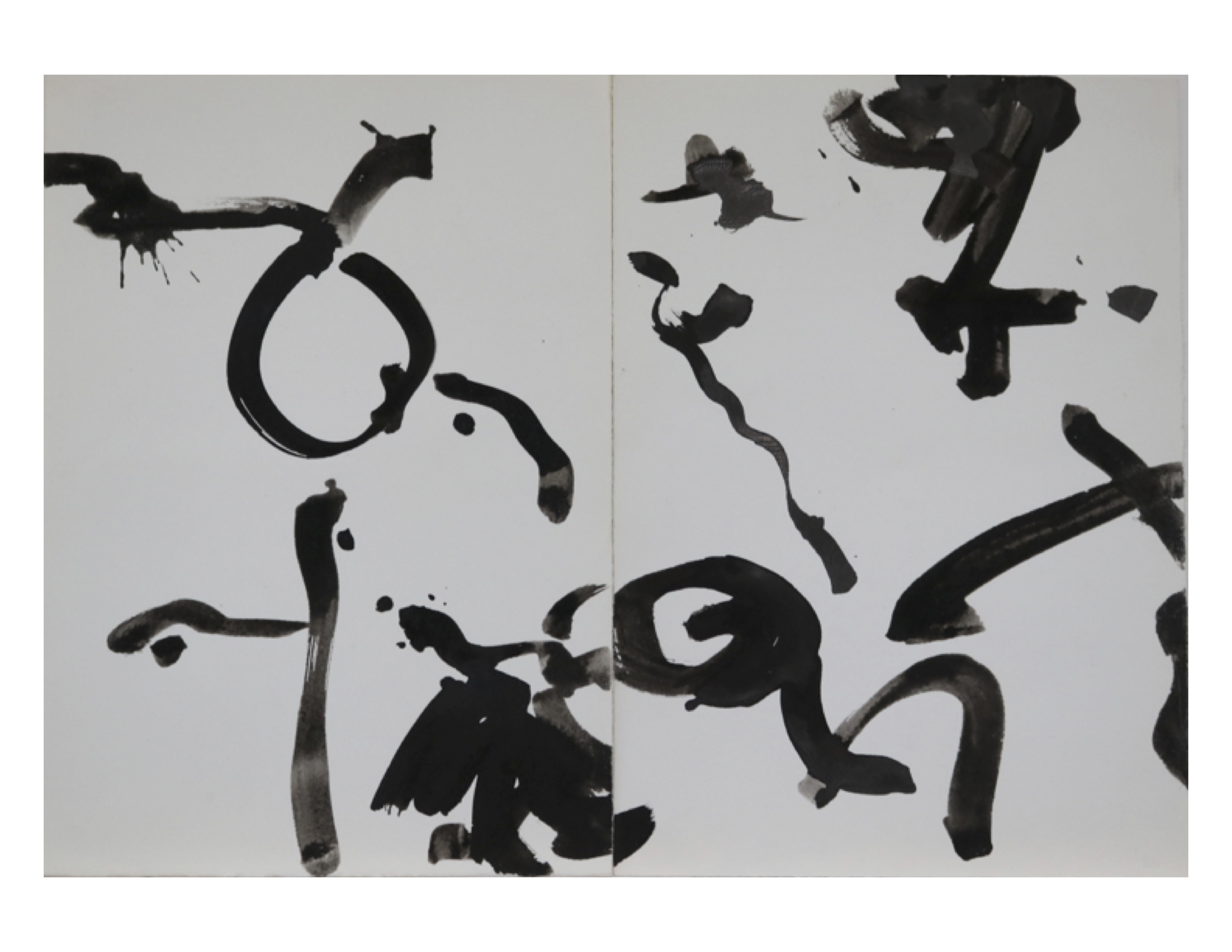 Dyptych 3, March 10,1979, ink on paper, each sheet 25 cm x 35.2 cm