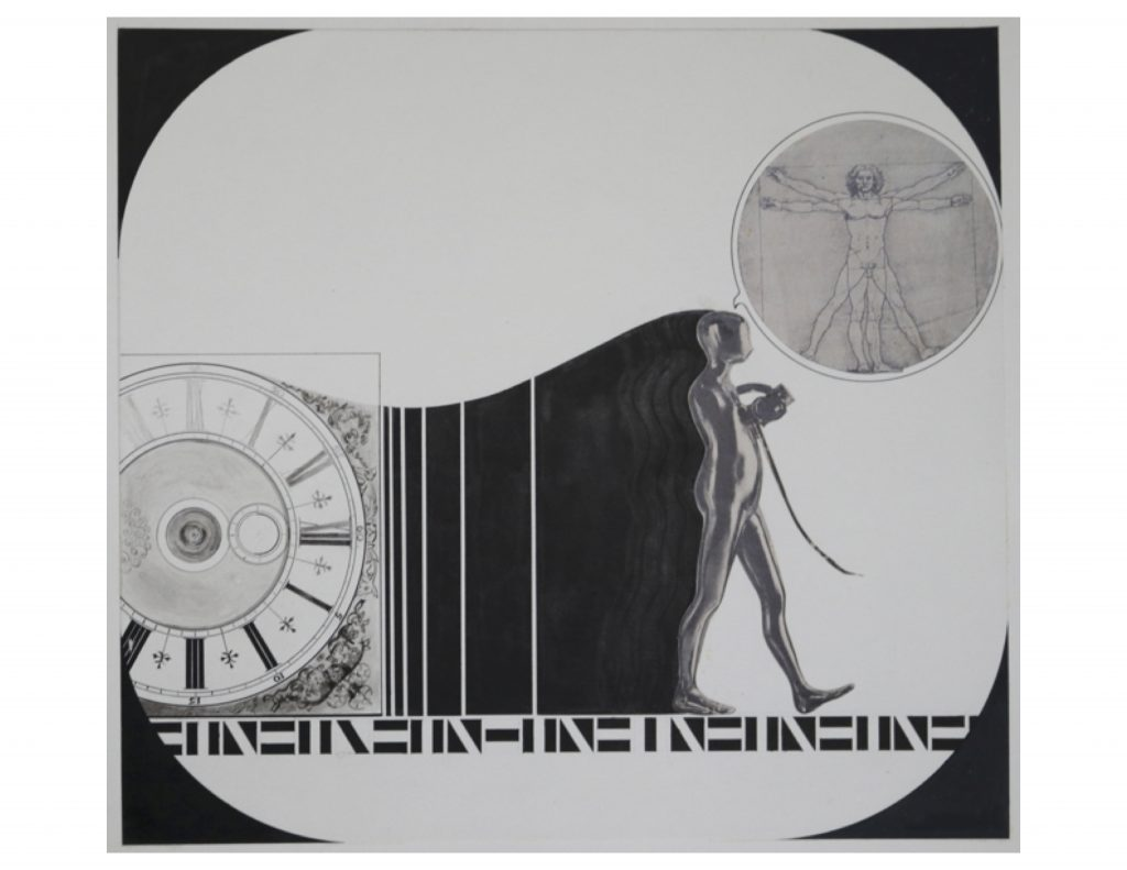 Enigma Series 2, Man and machine, Nov 5, 1971, pencil ink and collage on paper, 36.6 x 39.2 cm