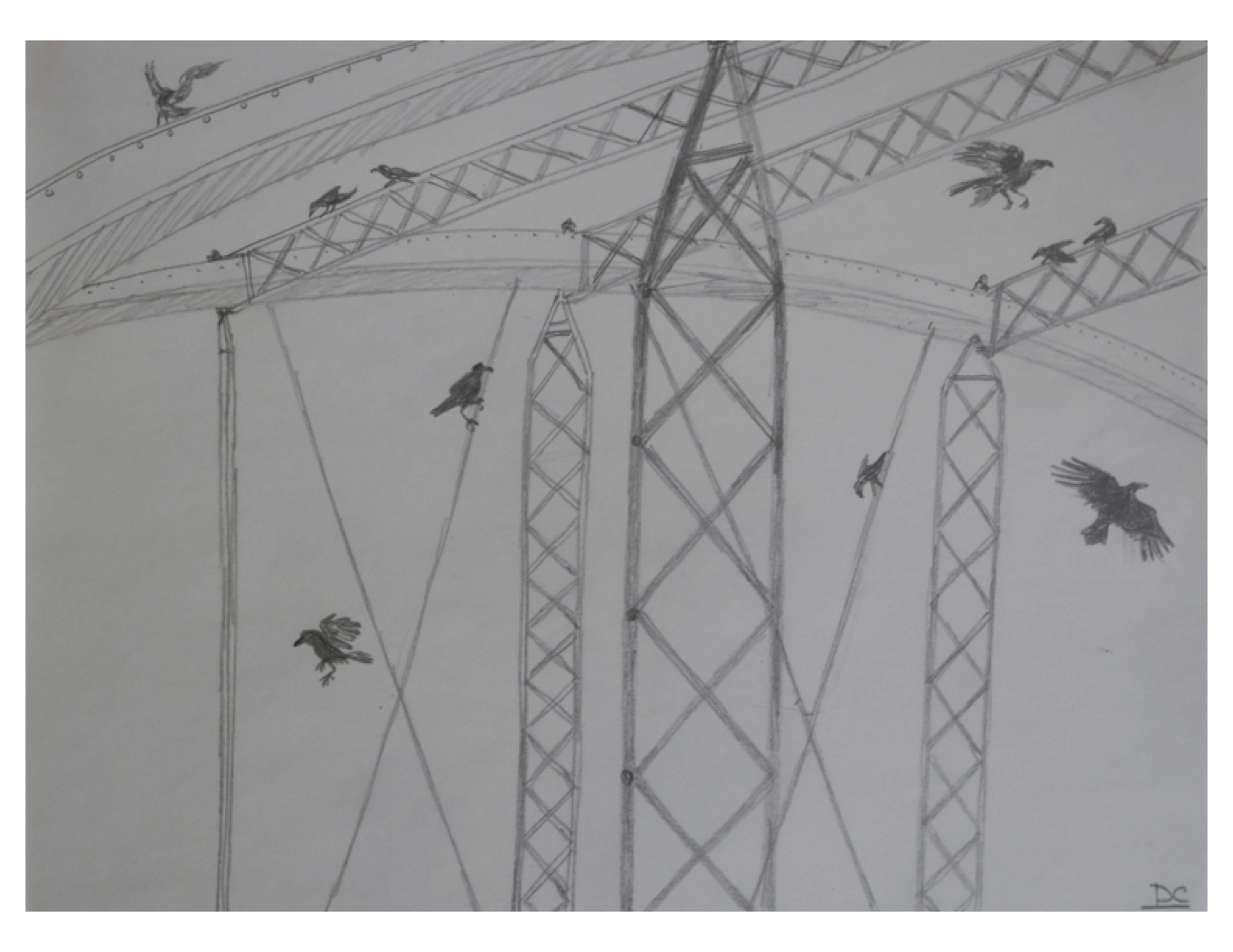 Study for crows at Blackfriars Bridge, Dec 8, 2016, pencil on paper, 28 cm x 21.5 cm